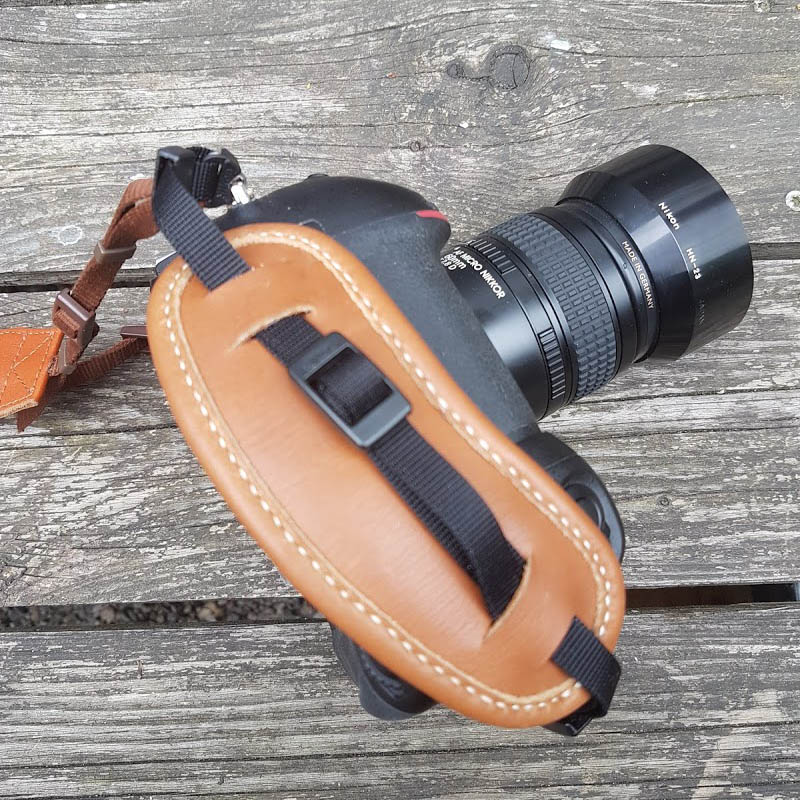Leather camera handle.