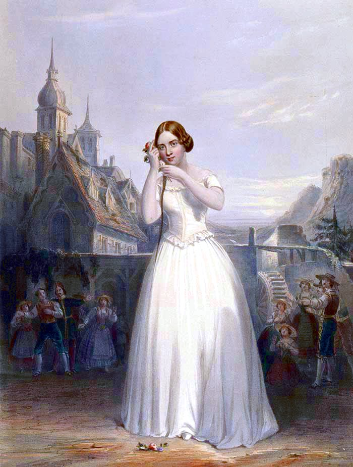 Jenny Lind Mania in the USA - Lind as Amina in La sonnambula.  Quelle: Wikipedia