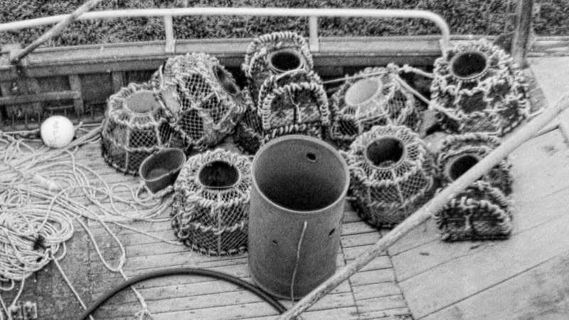 Detail - FP 3017 - Crab or lobster baskets, ropes, net swimmers, boat planks
