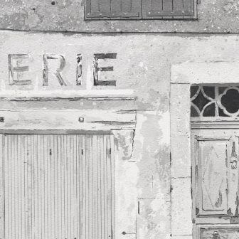 Detail: Epicerie was once painted on from the painting Painting of closed grocery store on Avenue du Puy Pradelles