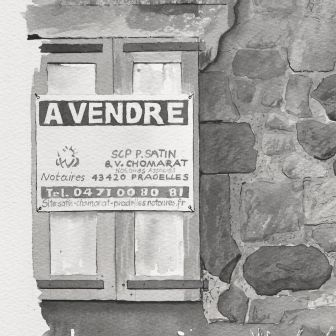 Detail: The sign says for sale from the painting Painting of closed grocery store on Avenue du Puy Pradelles