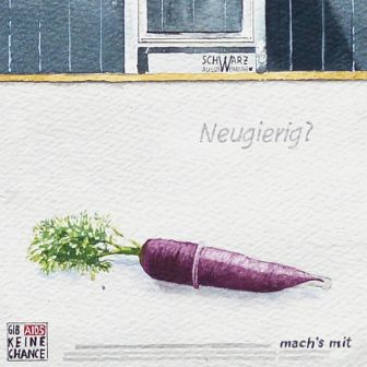 Detail: Curious? Purple carrot (Daucus carota subsp. sativus) in a condom from the painting Large watercolor painting of Alfred Kaut building