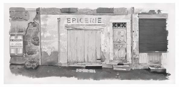 Painting of closed grocery store on Avenue du Puy Pradelles - A vendre